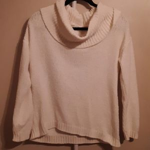 MICHEAL KORS OFF WHITE CHENILLE COWLNECK SWEATER S
